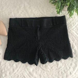 LOFT Black Scalloped Shorts